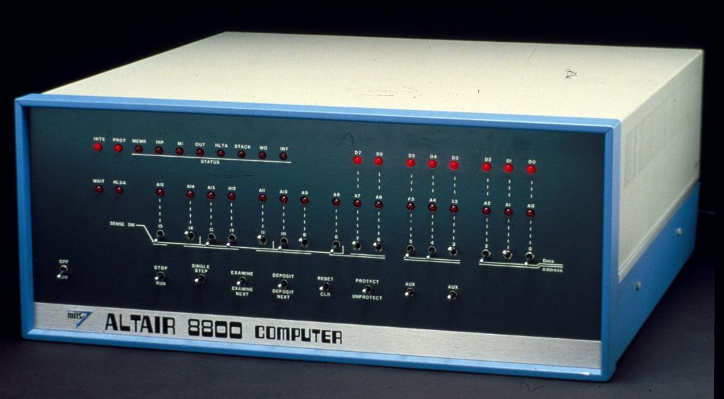The original assembled Altair 8800 sold by MITS.